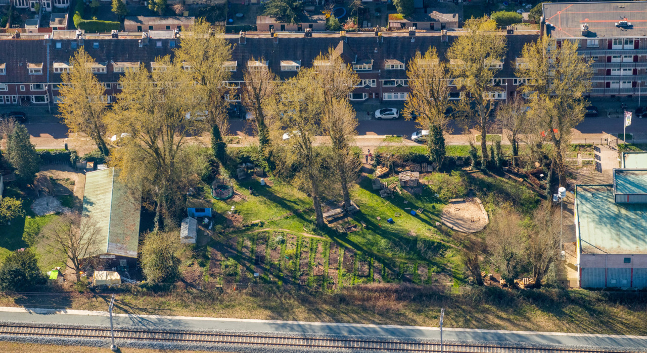 This is a drone shot of Tiny Forest Cremertuin in Utrecht.